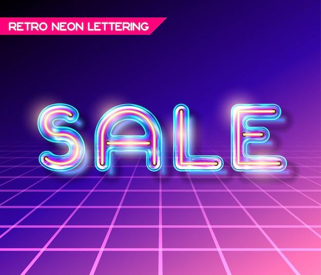 Iscrizione di vendita di vetro incandescente al neon retrò con trasparenza e ombre