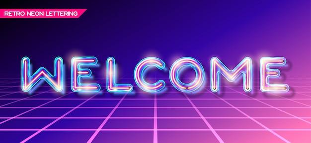 Lettering di benvenuto in vetro incandescente al neon retrò con trasparenza e ombre