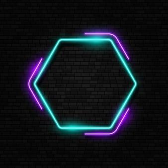 Insegna al neon retrò bordo della lampada alogena o a led insegna al neon isolata sullo sfondo del muro di mattoni
