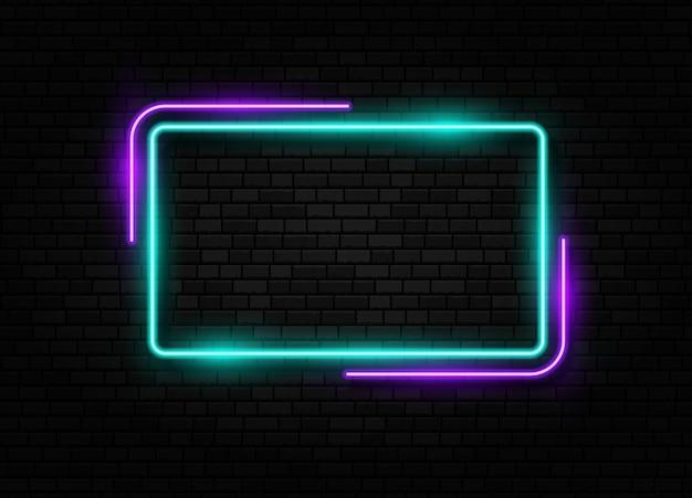 Insegna al neon retrò bordo della lampada alogena o a led segno isolato su sfondo di un muro di mattoni