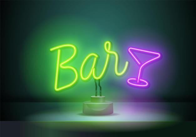 Insegna al neon retrò con la barra delle parole. simbolo elettrico d'epoca. bruciare un puntatore su un muro nero in un club, bar o caffè. elemento di design per i tuoi poster, striscioni. illustrazione vettoriale