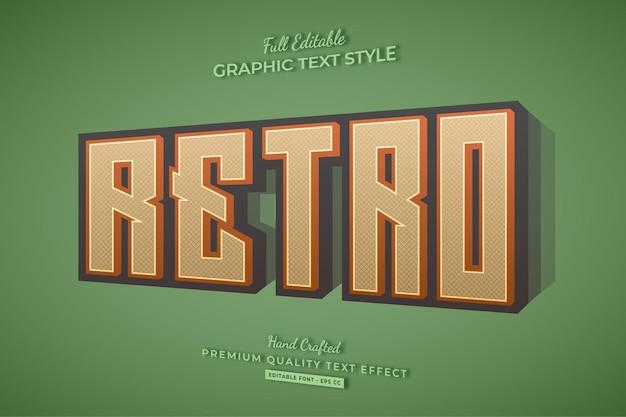Retro vecchio stile del carattere di effetto testo 3d modificabile