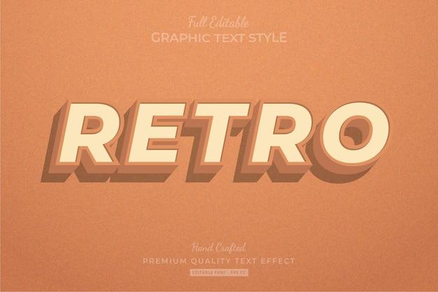 Stile del carattere di effetto testo modificabile arancione vecchio retrò