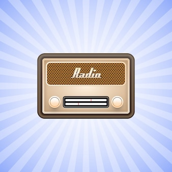 Retro vecchia radio su sfondo bianco.