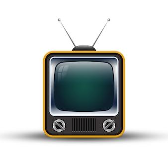 Retro vecchia televisione isolata su fondo bianco