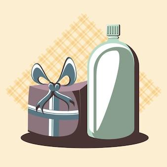 Carta festa retrò con bottiglia di regalo e drink