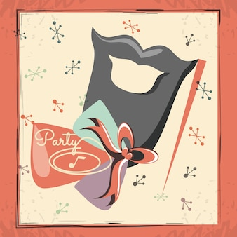 Carta festa retrò con accessorio labbra