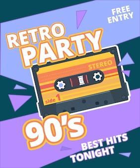 Locandina festa retrò. etichetta anni '90 con cartello in sottofondo musicale con cassetta audio stereo