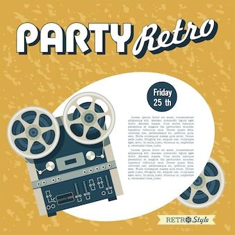 Festa retrò. illustrazione vettoriale, poster. nastro vintage da bobina a bobina.
