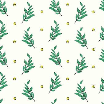 Retro disegno a penna contorno albero e fiore piccolo motivo illustrazione ripetizione ripetizione senza soluzione di continuità