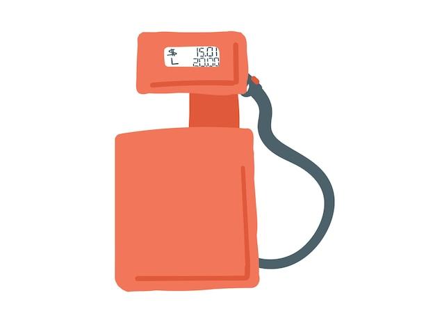 Singolo elemento di doodle disegnato a mano di stile del fumetto di colore rosso della stazione di servizio della pompa di benzina retrò