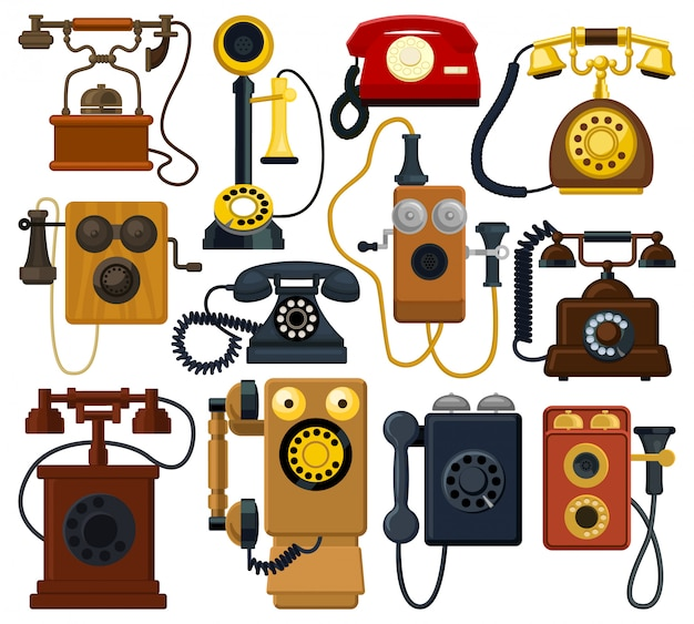 Icona stabilita del fumetto del retro telefono. illustrazione telefono vintage su sfondo bianco. retro telefono dell'icona stabilita isolata del fumetto.