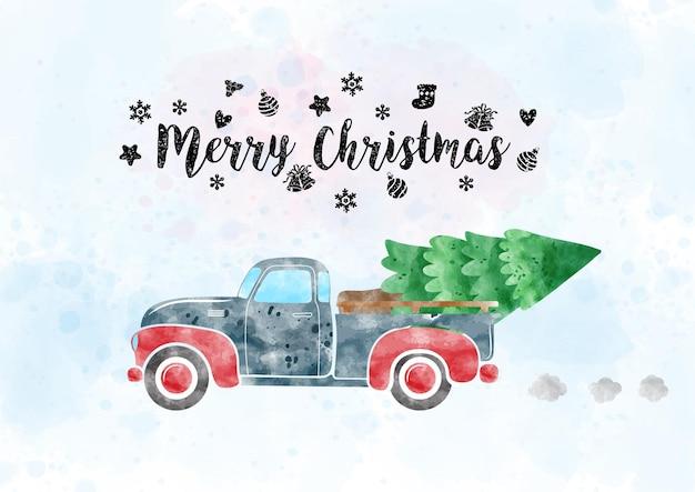 Un camioncino retrò che trasporta un albero di pino in stile acquerello con lettere di buon natale e decorato con simboli natalizi su acquerello azzurro e sfondo bianco.