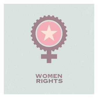 Elementi ed icona di logo di femminismo della donna femminile di propaganda di retro schiocco.