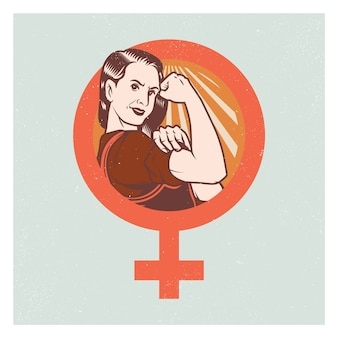 Retro manifesto ed elementi della donna forte di propaganda di pop.