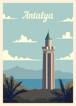 Poster retrò antalya skyline della città.