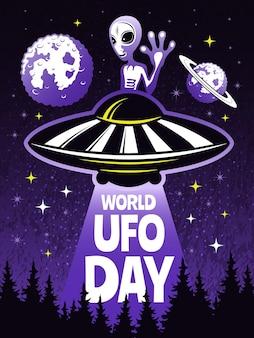 Concetto di poster retrò per la giornata mondiale degli ufo. immagini di alieni divertenti.