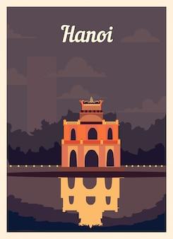 Poster retrò skyline della città di hanoi.