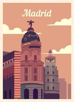 Poster retrò madrid skyline della città.