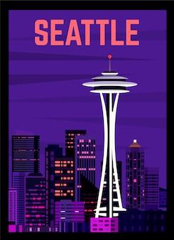 Poster retrò di seattle, paesaggio notturno della città.