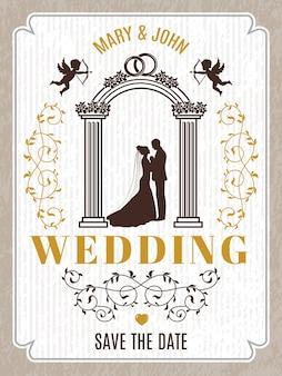Poster retrò o invito carta di nozze. modello con posto per il testo. invito vintage poster matrimonio illustrazione