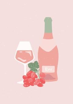 Poster retrò con bottiglia di vino rosato, bicchiere di vino e uva