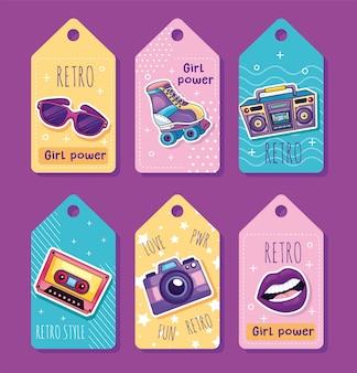 Cartellini dei prezzi retrò con oggetti degli anni '80