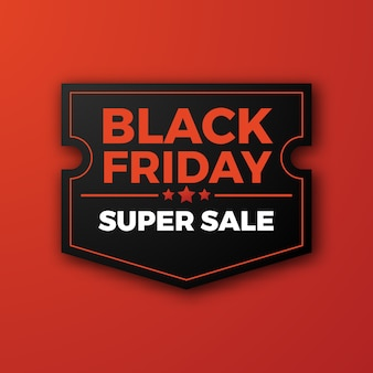 Retro stampa venerdì nero super vendita offerta modello distintivo etichetta con colore rosso.