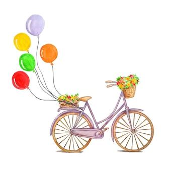 Bicicletta viola retrò con palloncini colorati, una scatola di legno con fiori, intreccio, un cesto con fiori e foglie. concetto su sfondo isolato, disegno ad acquerello.
