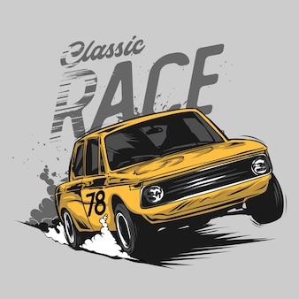 Retro illustrazione grafica della macchina da corsa