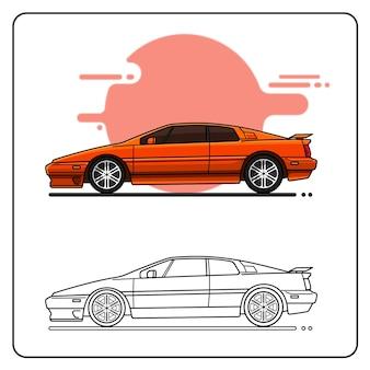 Retro macchina da corsa vista laterale colore rosso facilmente modificabile