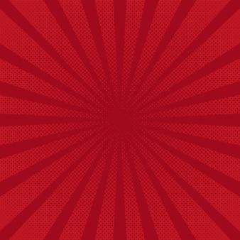Retro raggi sfondo rosso raster comico sfumato mezzitoni stile pop art