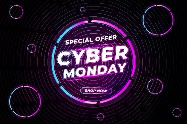 Retro tecnologia realistica cyber lunedì con sfondo cerchio