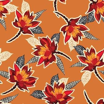 Retro fiore rosso in fiore floreale con stile disegnato a mano su fogliame e foglie senza cuciture.