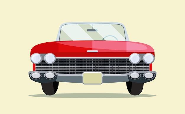 Vintage retrò auto rossa isolata. vista frontale.