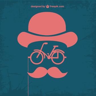 Design retrò bicicletta retrò pantaloni a vita bassa Vettore Premium