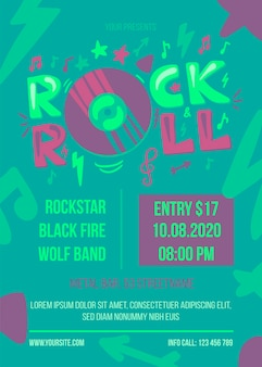 Modello di poster retrò rock and roll music fest. banner pubblicitario schizzo per festival musicale. opera d'arte di volantino festa hipster. elemento di design emblema del disco in vinile. illustrazione del fumetto piatto