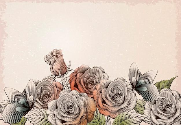 Elementi decorativi di rose retrò, giardino fiorito con farfalle in sfumature di incisione e stile di disegno a inchiostro su sfondo beige