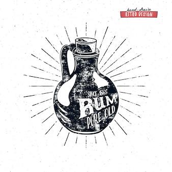Design retrò bottiglia di rum.