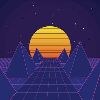 Retro scenario di sfondo sci fi