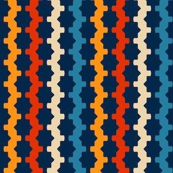 Retrò seamless pattern su sfondo blu navy