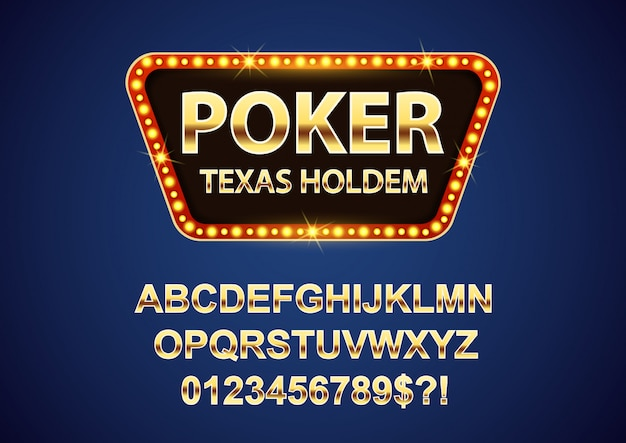Insegne retrò poker da casinò con lettere dell'alfabeto in oro
