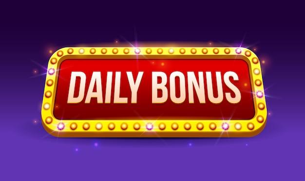 Segno retrò con lampada daily bonus banner, poker, carte da gioco, slot e roulette, gioco, ui, banner