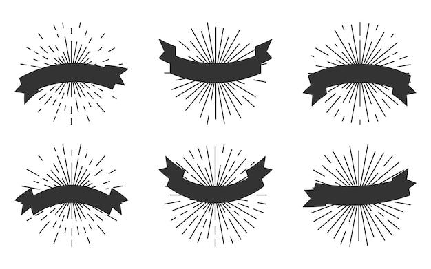 Nastri di retro sagoma nera con set di icone sunburst