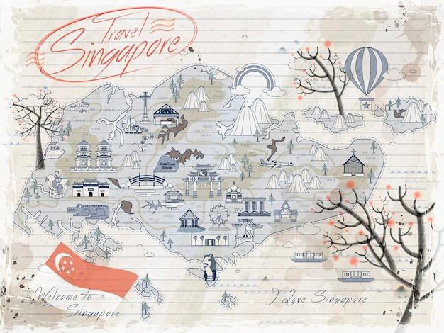Mappa di viaggio retrò di singapore sulla carta per appunti