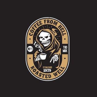 Logo del disegno della mano della caffetteria retrò teschio