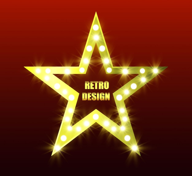 Retro stelle. stella a cinque punte luminosa. stella dorata. stella con torce elettriche.