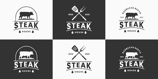 Collezione di design del logo della steak house retrò