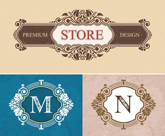 Retro store bordo di calligrafia fiorita, lettere lussuose calligrafiche m e n, decorazioni eleganti linee reali