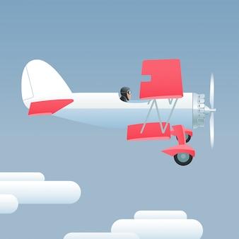 Illustrazione dell'aeroplano di stile retrò